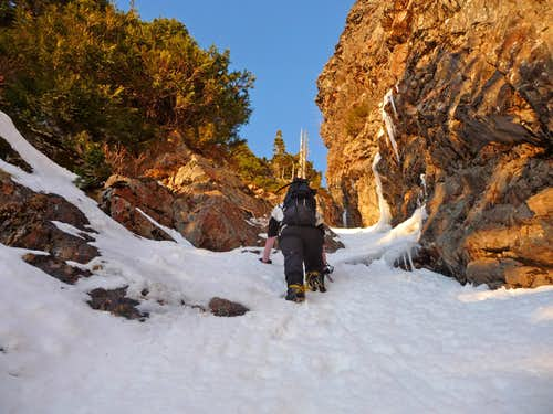 Climbing on the Upper Section of the Gully