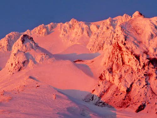 Alpenglow on the Upper Section of Mount Hood