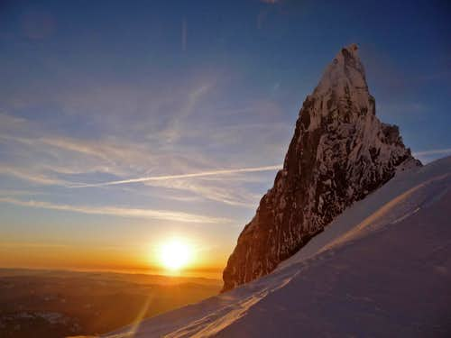 Sunset with Illumination Rock