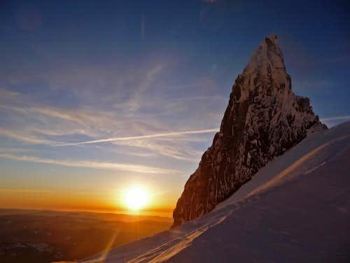 Sunset with Illumination Rock