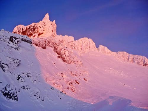 Alpenglow from our Snow Cave