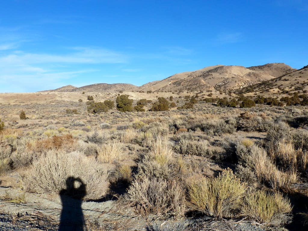 Beautiful view northwest to the Hungry Ridge across the brush desert.