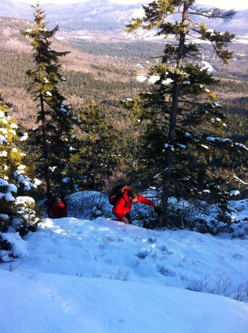 A nice bushwhack up to Moat Mt NH with some modified ice climbing and chute scrambling.
