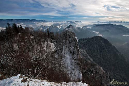 Trzy Korony - summit panorama to the East