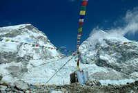 Khumbu Icefall and Prayer Flags