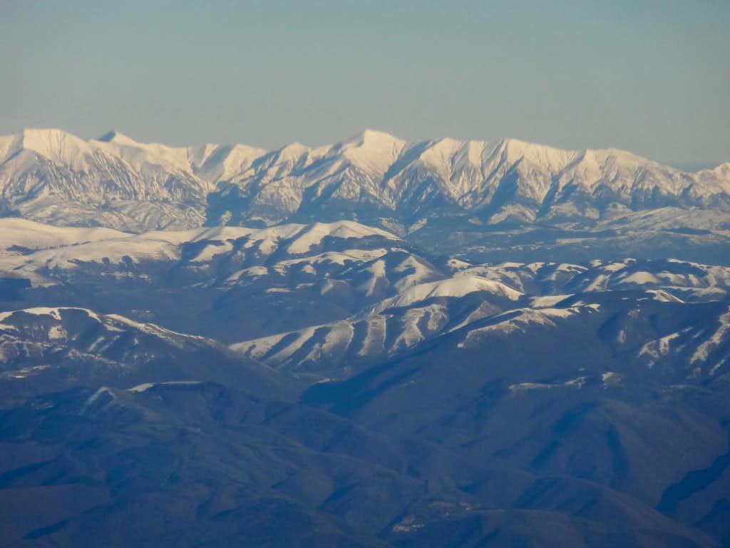 Italian Central Apennines, Monti della Laga range from SW :Cima Lepri, Pizzo di Moscio, Monte Gorzano and Cime della Laghetta.