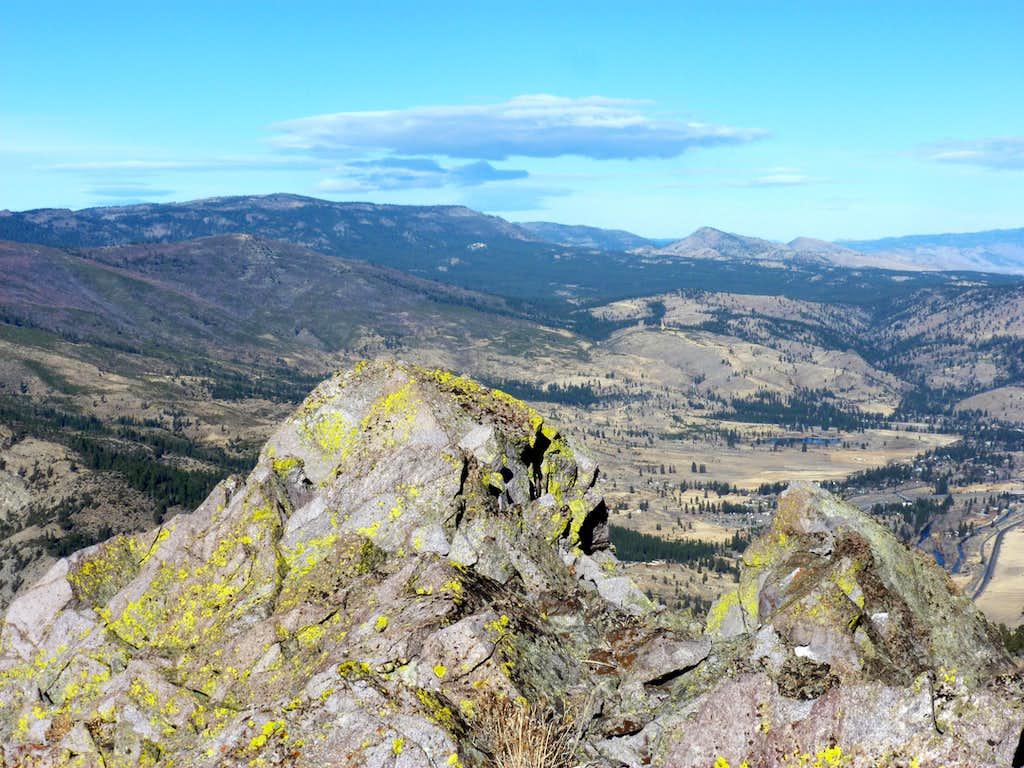 View northwest over the summit of Cone Peak