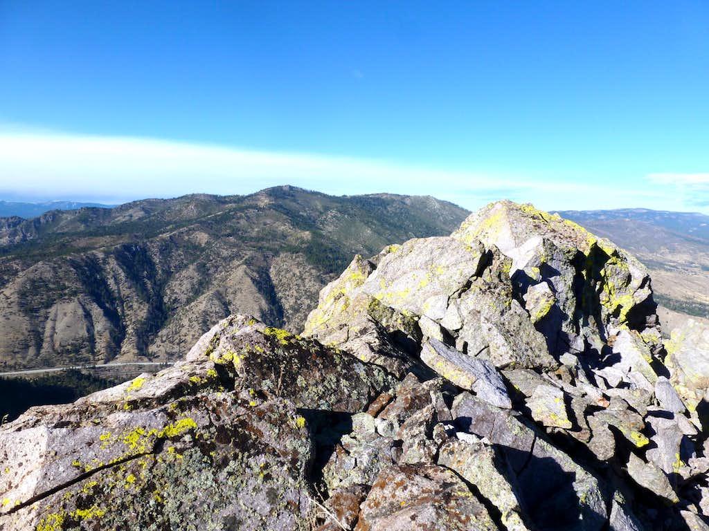 View to Verdi Peak 8,444' over the summit of Cone Peak