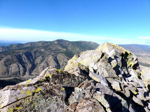 View to Verdi Peak 8,444\' over the summit of Cone Peak