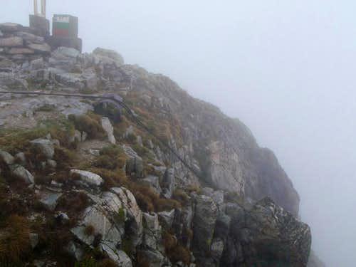 Side of Musala in fog.