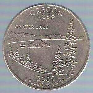 Mount Mazama on 25 Cent coin (USA)
