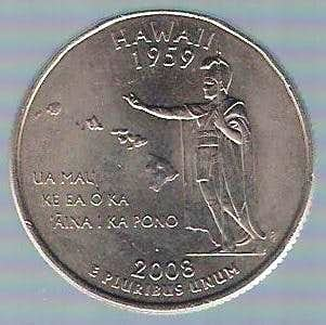 Hawaiian volcanoes on 25 Cent coin (USA)