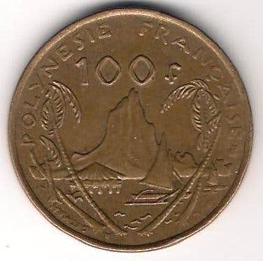 Mount Tohivea on 100 Franc coin (French Polynesia)