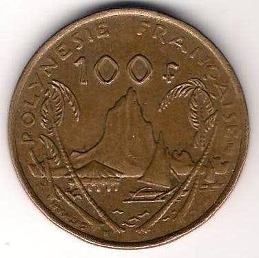 Mount Tohivea on 100 Franc coin (French Polynesia)