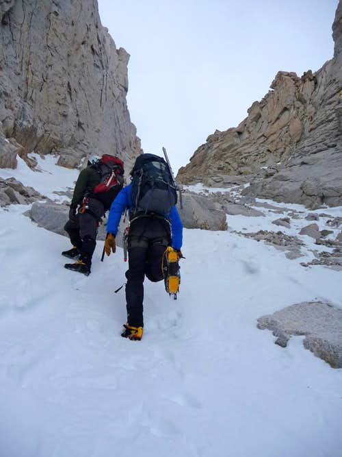 Hiking up the Mountaineers Gully
