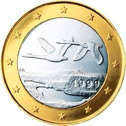 Finnish mountains & bird on 1 Euro coins of Finland