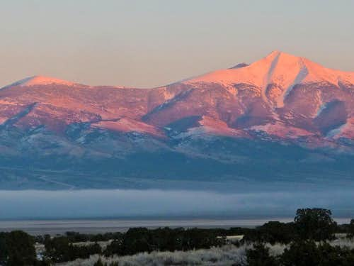 Alpenglow on Wheeler Peak
