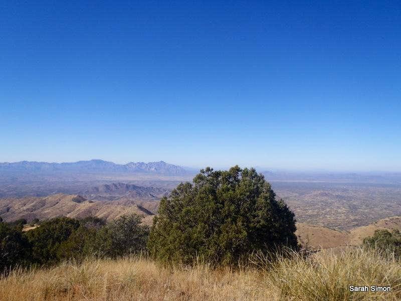 West-northwest from summit