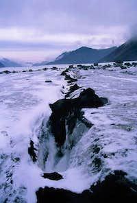 A crevasse on the glacier....