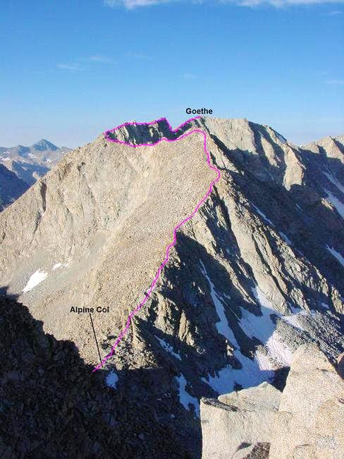 Mt. Goethe\'s NE Ridge route...