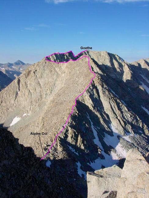 NE Ridge from Alpine Col
