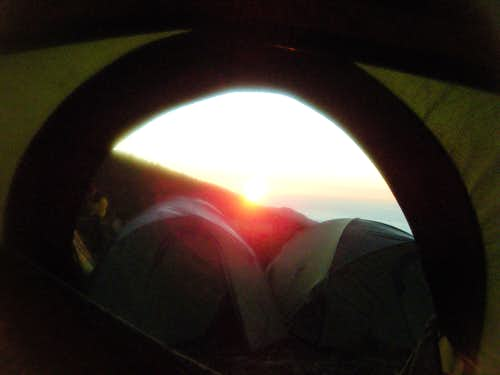 Sunrise from the tent at Horombo