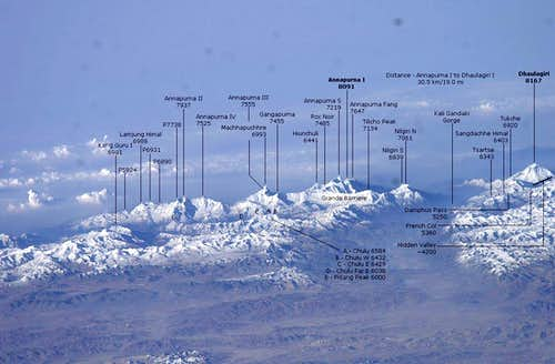 Annapurna and Dhaulagiri from the International Space Station - annotated
