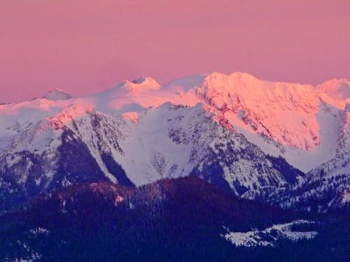 Pink Light on the North Cascades