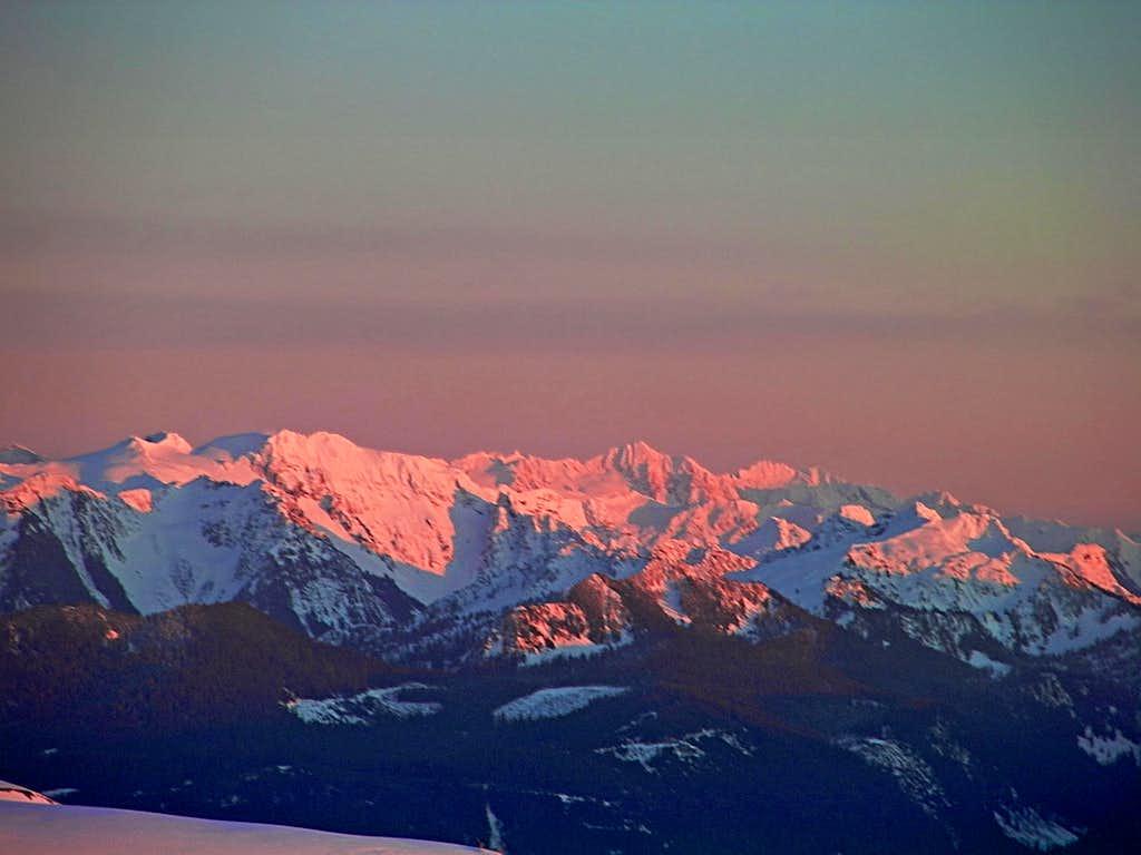 Sunset over Eldorado Peak