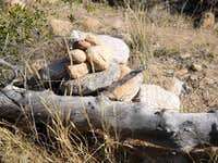 Dead Log and Rock Cairn