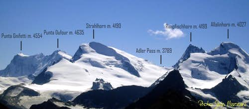 View over Monte Rosa and Strahlhorn Massif
