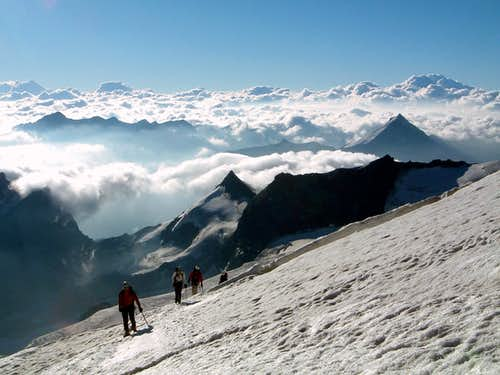 A party climbing Alphubel Normal Route