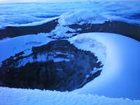 The summit crater at sunrise