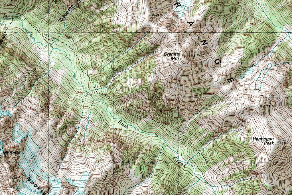 Ruth Creek Topographic Map