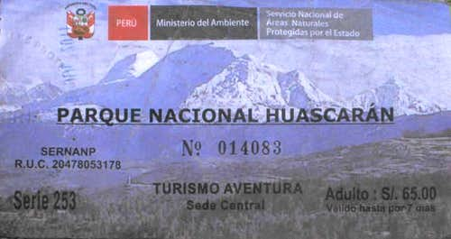 2011 ticket for Huascarán NP