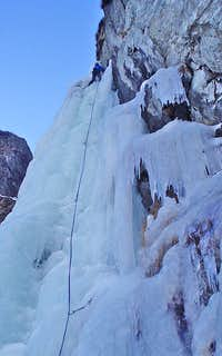 Ice climbing - 2nd pitch of Cascade de Brucholey