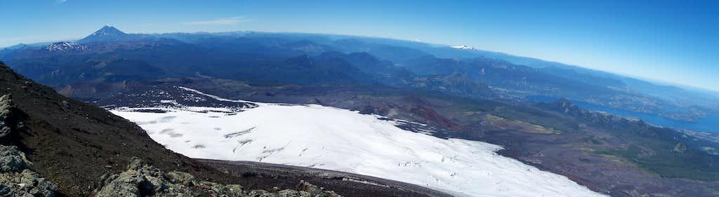 Villarrica summit panorama from SE-SW