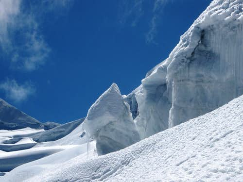 Ice formations high on Vallunaraju