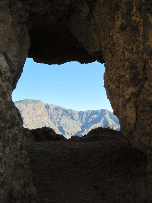 Rock window inside Roque Bentaiga
