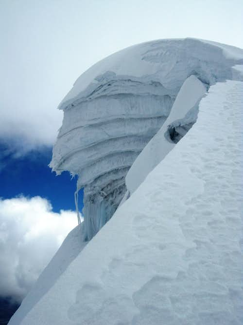 Big cornice high on Vallunaraju