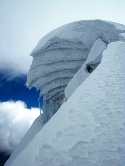 Big cornice high on Vallunaraju
