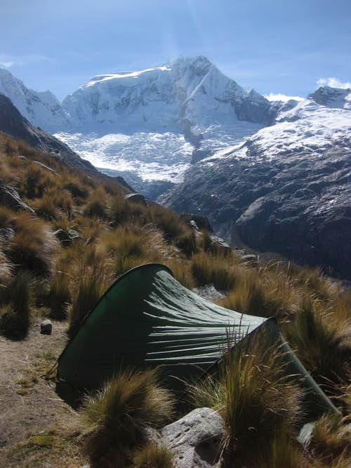 Camping on the slopes of Vallunaraju