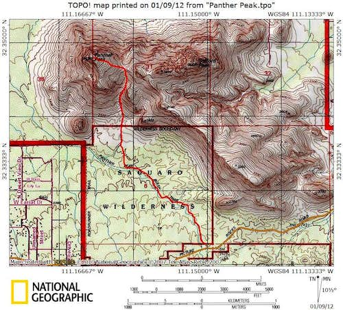 Route Map_Panther Peak Wash