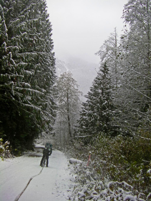 Biking though the Snow