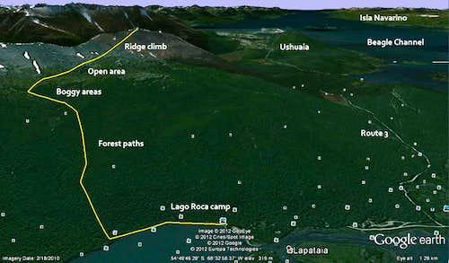 Cerro Guanaco route map
