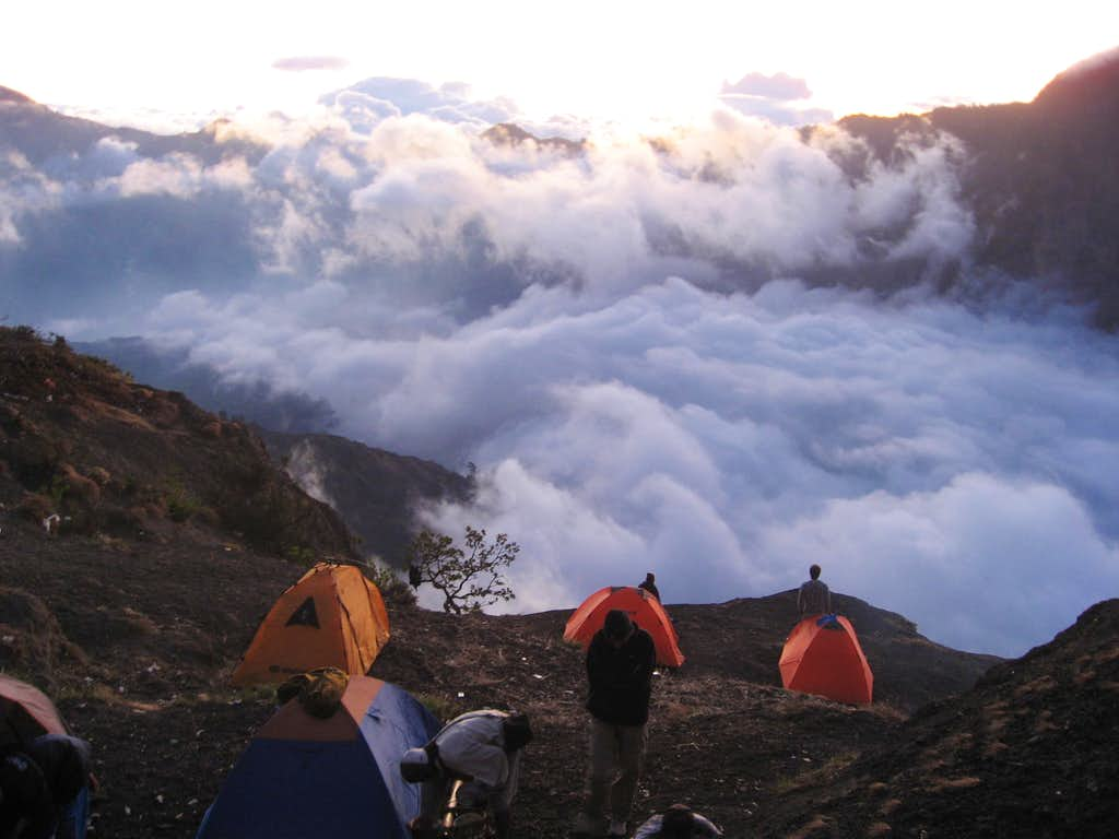 Rinjani crater rim in the sunset