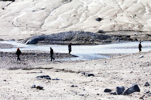Walkers Approaching the Toe of the Glacier