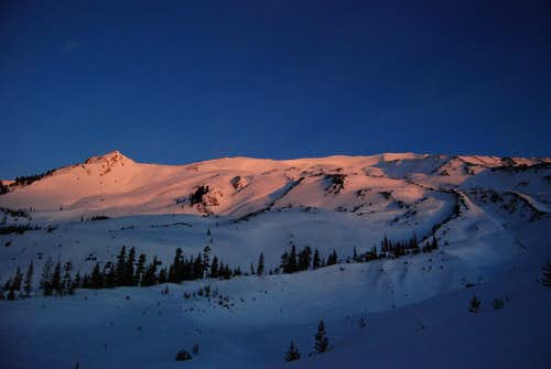 Morning glow on the upper slopes