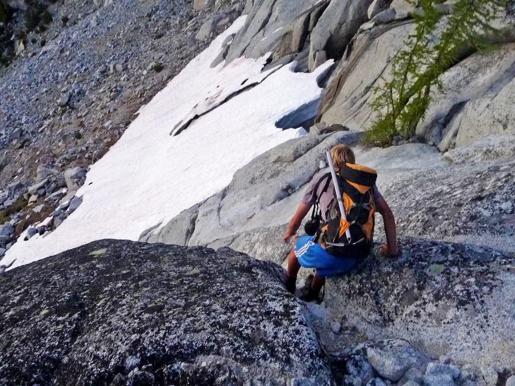 Matt Lemke down Climbing a Steep Spot