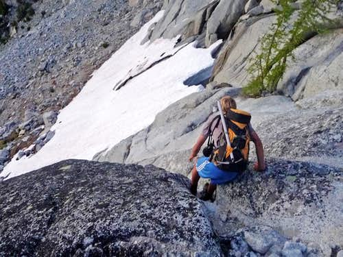 Matt Lemke down Climbing a Steep Spot
